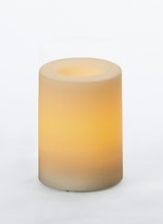 "Outdoor Flameless Pillar Candle - ""Ivory"" - 3"" x 4"""