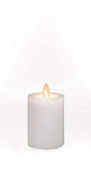 "Outdoor Flameless Pillar Candle - ""White"" - 2.5"" x  4"""