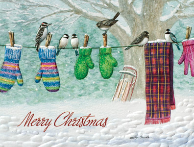 "Petite Boxed Christmas Cards - ""Clothesline Choir"""