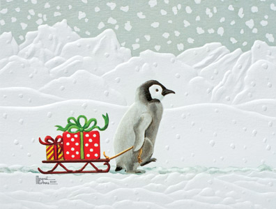 "Petite Boxed Christmas Cards - ""Gifted Penguin"""