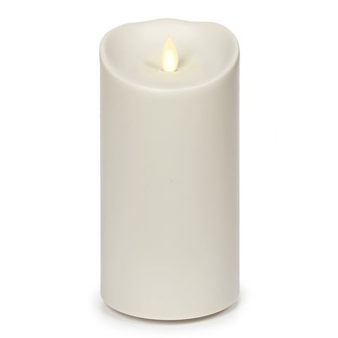 "Outdoor Flameless LED Pillar Candle - ""Ivory"" - 3.75"" x 7"" - with Realistic moving flame and Timer"