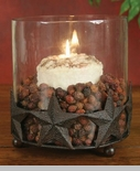 "Pillar Candle Holder - ""Barn Star Pillar Candle Holder with Glass Chimney"" - Rustic Brown Finish"
