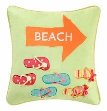 "Pillow  - ""Flip Flops on the Beach Pillow"""