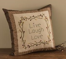 """Pillow - """"Shades Of Brown - Live, Laugh, Love Pillow"""""""