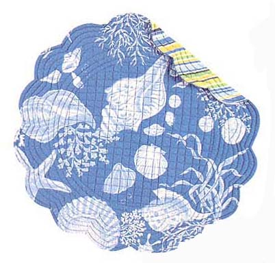 """Placemat - """"Blue Shells Reversible Quilted Placemat"""""""