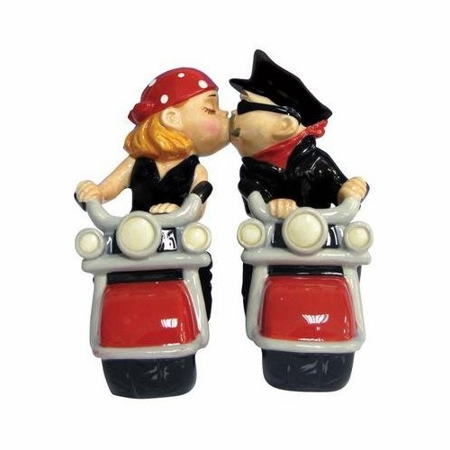 "Salt & Pepper Shakers - ""Mwah! Biker Couple Magnetic Salt & Pepper Shakers"""