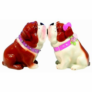 "Salt & Pepper Shakers - ""Mwah! Bulldogs Magnetic Salt & Pepper Shakers"""