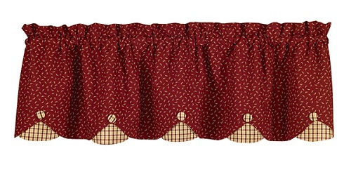 "Scalloped Valance  - ""Apple Jack Scalloped Valance"" - 60"" x 15"""