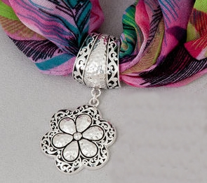 "Scarf Accent  - ""Flower Accent Pendant"""