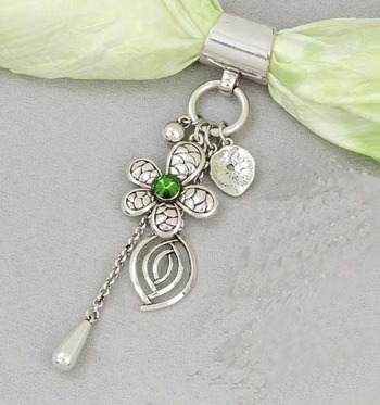 "Scarf Accent - ""Flower With Charm Slider Pendant"""
