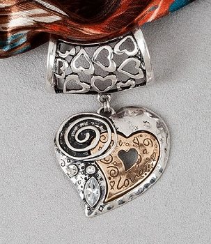"Scarf Accent - ""Heart Slider Pendant"""