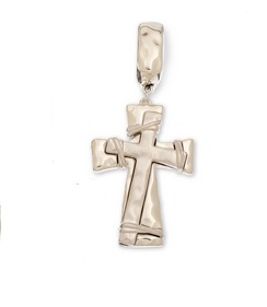 "Scarf Accent - ""Layered Cross Slider Pendant"" -Silver"