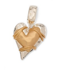 "Scarf Accent - ""Layered Heart Slider Pendant"" - 2 Tone"