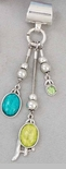 "Scarf Accent - ""Lime And Turquoise Drop Slider Pendant"""