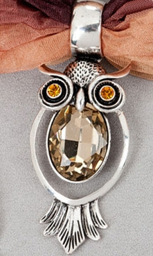 "Scarf Accent  - ""Owl Pendant - Brown"""