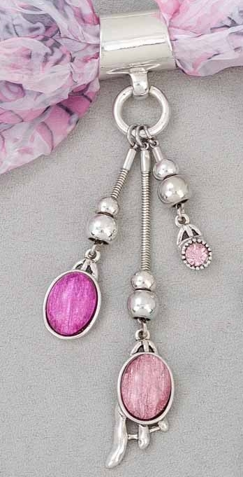 "Scarf Accent - ""Pink Drop Slider Pendant"""