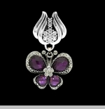 "Scarf Accent - ""Purple Butterfly Slider Pendant"""