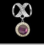 "Scarf Accent - ""Purple Round Slider Pendant"""