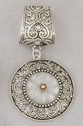 "Scarf Accent - ""Silver Round Slider Pendant"""