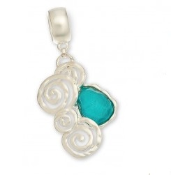 "Scarf Accent - ""Teal Bead Slider Pendant"""