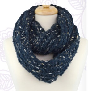 """Scarf - """"Ribbon Weave Infinity Scarf - Navy"""""""