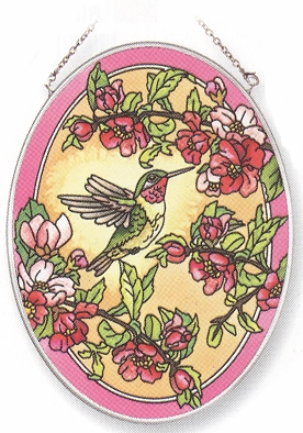 "Suncatcher - ""Hummingbird Oval Suncatcher"""