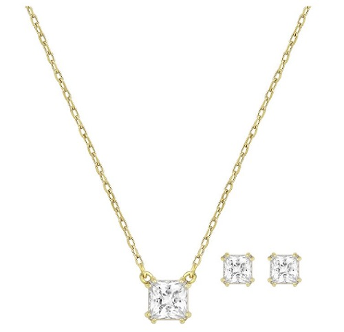 """Swarovski Necklace & Earring Set - """"Attract Square Set"""""""