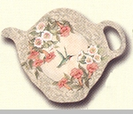 "Tea Bag Holder - ""Hollyhock & Trumpet Vine"""