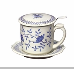 "Tea Mug  - ""Blue In Bloom Covered Tea Mug with Infuser"""