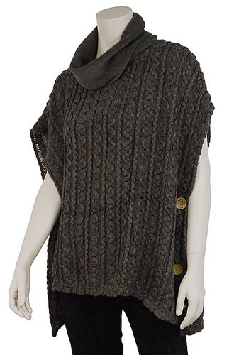 """Top - """"Cowl Neck Top With Button-Grey"""""""