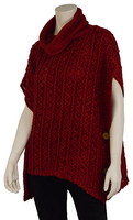 """Top - """"Cowl Neck Top With Buttons - Red"""""""