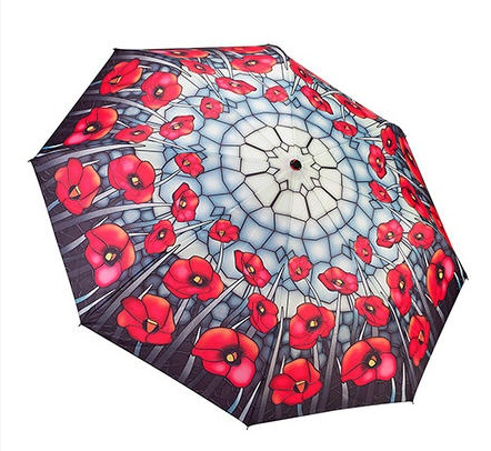 "Umbrella - ""Stained Glass Poppies  Unbreakable Umbrella"""