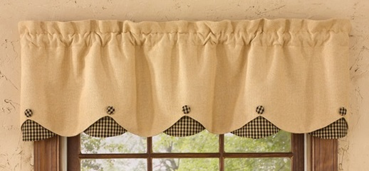 "Valance - ""Burlap And Black Checked Valance"""
