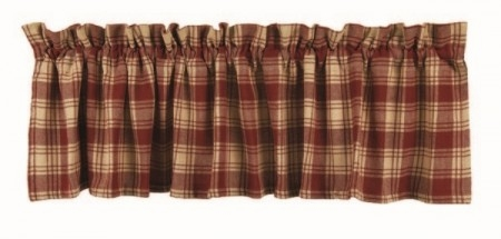 "Valance - ""Red Plaid Valance"" - 72"" x 15.5"""