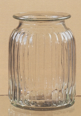 "Vase - ""Ribbed Glass Vase"" - 8"""
