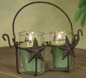 """Votive Holder  - """"Double Star Votive Holder with Glass  - Rustic Brown"""""""