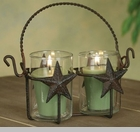 "Votive Holder  - ""Double Star Votive Holder with Glass  - Rustic Brown"""
