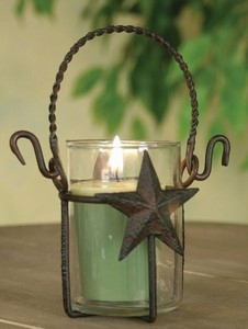 "Votive Holder  - ""Star Votive Holder with Glass  - Rustic Brown"""