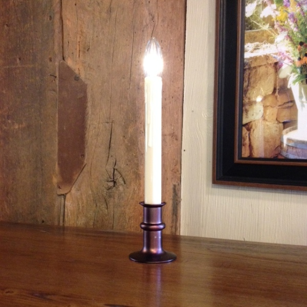 "Window Candle - ""Battery Operated Dual-Intensity Candle Light"" - Bronze Base"