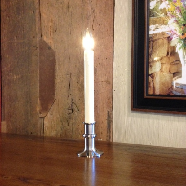 "Window Candle - ""Battery Operated Dual-Intensity Candle Light"" - Nickel Base"