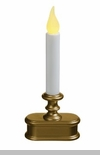Window Candle  -  Battery Operated LED Antiqued Brass - Automatic On/Off