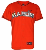 Giancarlo Stanton Jersey: Adult Majestic Alternate Orange Replica #27 Miami Marlins Jersey