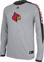 Louisville Cardinals Adidas Grey On-Court Shooter Long Sleeve T-Shirt