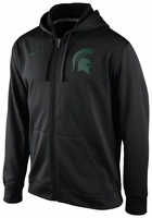 Michigan State Spartans Nike 2013 Black KO Full Zip Logo Hooded Sweatshirt