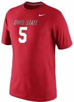 Ohio State Nike #5 Red Replica Player T-Shirt
