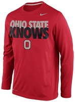 Ohio State Nike Red Knows Legend Long Sleeve Performance T-Shirt