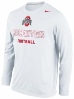 Ohio State Nike White Practice Logo Long Sleeve T-Shirt