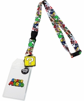 Nintendo Super Mario Brothers Lanyard with Sticker ID Holder & Charm