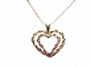 14k Gold Heart Necklace- Rose & Yellow Gold Double Heart