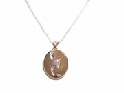 Gold Footprints Locket in 14k Gold with Chain